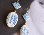 Earrings SAUDADE Portugal 16th Century Azulejo Tiles - Tomar - Convent of Christ built in 1160 - Camellias Majolica Mosaic  Blue - Gift