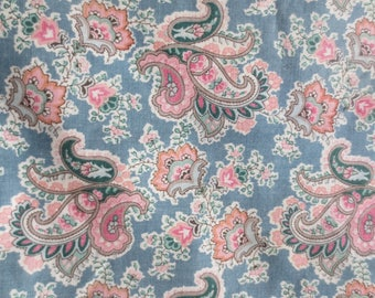 "Pair Paisley Curtains / 50"" long 60"" wide / pink grey paisley / lined curtains"