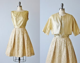 Vintage 1960s Gold Lame Sleeveless Dress and Cropped Jacket Set / Sun Kissed