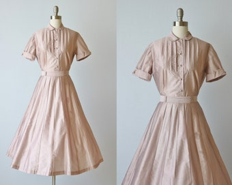 Vintage 1950s Cotton Dress Set / 50s Novelty Matching Blouse and Skirt / Full Skirt / Opals