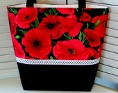 Classy RED POPPIES TOTE Bag Ladies' Handbag Fabric Purse Polka Dot Trim Red & Black Double Straps