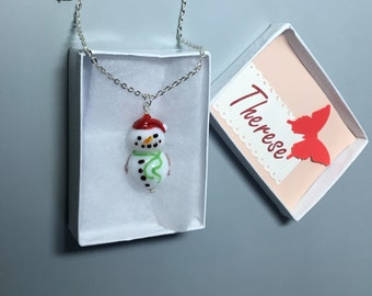 Snowman glass lampwork focal bead pendant with chain gift ooak
