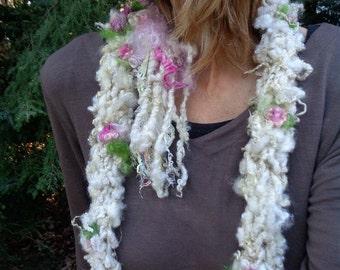 hand knit soft art yarn extra long loop earthy rustic wool curls scarf - winter rosebud party scarf