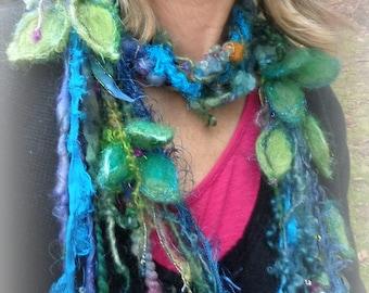 silk scarf lariat fantasy fiber art yarn braid scarf adornment - twilight garden