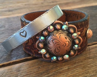Stamped Heart Aluminum Bracelet