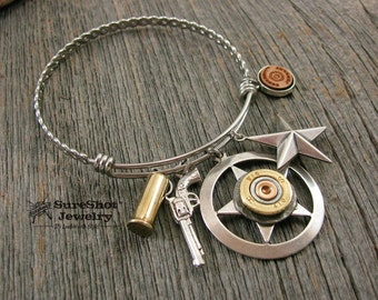 Bullet Jewelry - Bangle Bracelets - Stainless Steel Lone Star Themed Shotgun Casing Wire Bangle Bracelet - Texas Star - Gun Jewelry