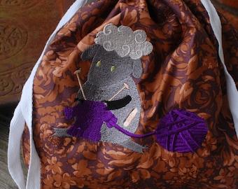 Embroidered project bag,knitting bag,crochet bag, WIP bag