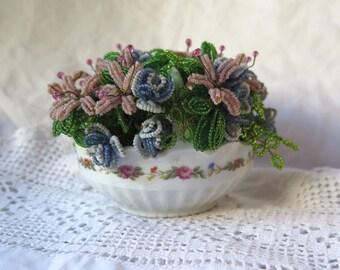 Seed Bead Bouquet in Porcelain Basket A. Lanternier & Co. Limoges France Vintage 1920's