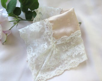 Silk Handkerchief with Antique Tambour Lace Handmade One of a Kind Hanky in Peach Silk Jacquard Floral Wedding/Bridal/Special Occasion