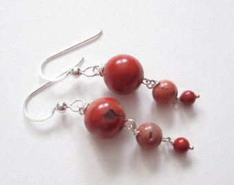 Red Japser earrings, Red Moons, Cappuccino red jasper earrings