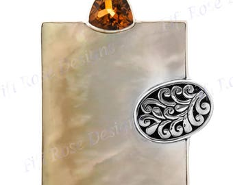 """2"""" Exquisite Mother Of Pearl Shell Citrine Gems 925 Sterling Silver Pendant"""