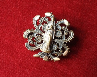 Antique french religious brooch