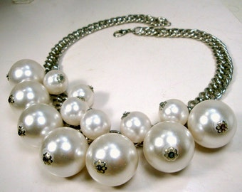 Silver Metal Chain Necklace with Giant Round  White Pearl Bead Dangles, Big BIB of Baubles, OOAK R Starr
