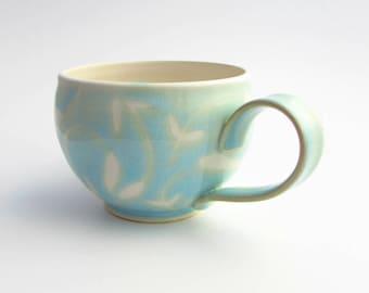 Large Handmade Stoneware Latte Mug // Soup Mug in Aqua Blue and White