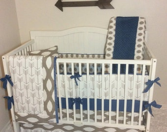 Baby Boy Crib Bedding Set Taupe and Denim Blue Arrows READY TO SHIP