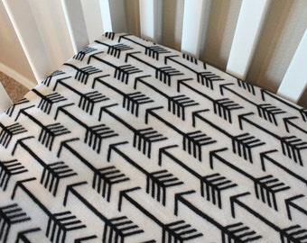Minky Arrow Fitted Crib Sheet or Changing Pad Cover - modern baby bedding in black and white