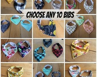 Baby Bandana Bibs - Bibdana - Drool Bib for Baby - Baby Boy or Girl bibs, Gender Neutral - Set of 10 - You Choose