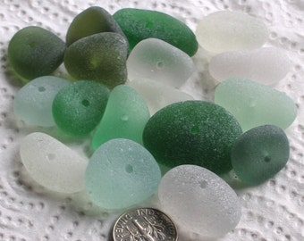 17 Sea Glass Beads Centre Drilled 1.8mm holes Jewellery Quality Supplies (1966)