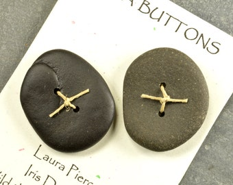 Pair of two large  grey and black super rounded Maine sea/beach stone buttons ecochic natural ocean style for knitters and jewelry craft