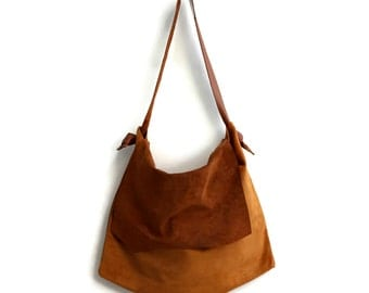 Large Suede Shoulder Bag in Honey Brown. Leather Shopping Bag. Boho Tote Bag.  Womens Gift. Gift for Her. Bohemian Bag.  Bohemian Tote