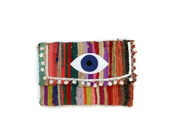 Evil Eye and Pom Pom Envelope Clutch. Boho Chic Kilim Purse. Bright Colors Kourelou Bohemian Clutch Bag. Gift for Her. Festival Wear
