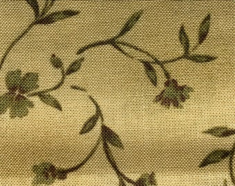 1/2 yard of premium Cotton fabric, Green & Beige.  (141FH)