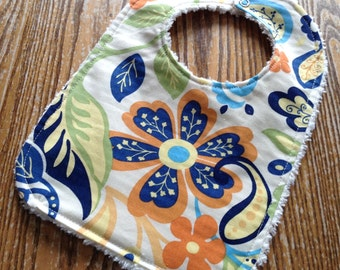 Chenille Back Baby Bib, Snap Closure, Navy Orange Floral