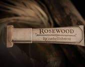Rosewood lip embellishment with beeswax, cocoa butter, shea butter, forest-inspired natural flavor, natural lip balm, eco friendly