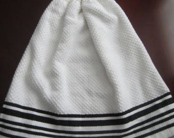 White With Black Stripes Double Sided Hanging Kitchen Towel With White Crochet Top
