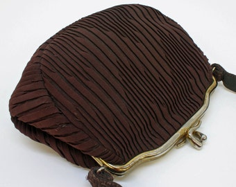 40's Small Brown Bag / Pleated Fabric  Purse / Evening Bag / Gold Art Deco Clip