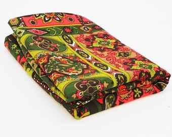 """Vintage Bark Cloth Fabric / Hawaiian Textiles / Green and Orange / 2 1/2Yards x 44"""" W"""