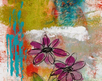 Two Flowers Mixed Media Art Print, Unframed Art, Naive Art, Home Decorating, Interior Design