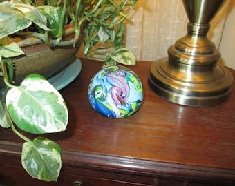 """Swirled Glass Paperweight - 3"""" in Diameter"""