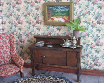 "German Buffet/Sideboard for Doll House - Red Stain - 3/4"" Scale"