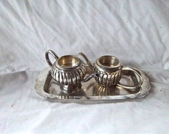 Vintage Silver Plate Tray With Two Silver Plate Teapot Candle Holder Set Vintage Chic Decoration Home Decor Vintage Import Candle Decor Set