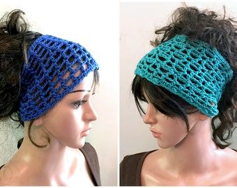 YOUR CHOICE of 2 Head Wraps - Pull On - 100 Percent Eco Friendly Cotton Yarn - Blue or Teal, Or Both -