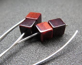 red stone earrings. burgundy tiger eye jewelry. modern jewellery.