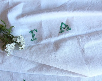 D 57: handloomed linen antique charming TOWEL napkin, LAUNDERED,리넨, decoration; tablerunner