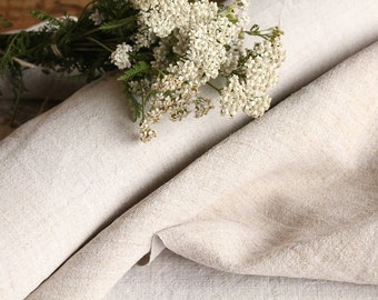 C 380 : antique handloomed 9.50yards french 리넨 two-toned upholstering curtain projects wedding PALE NATUREL