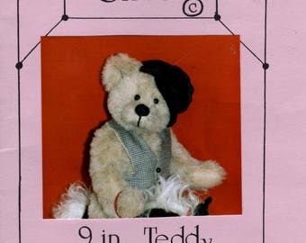 Stuffed Bear Pattern - Oliver 9 Inch Teddy Bear -  Bear Doll Making Pattern - Jointed Bear Pattern - Zucker Designs