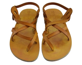 Yellow Triple All Leather Sandals For Men & Women - All Leather Soles - Handmade Unisex Sandals, Jesus Sandals, Genuine Leather Sandals