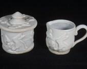 White Rabbit Sugar and Creamer set, sugar bowl, creamer , rabbit pottery, Handmade pottery