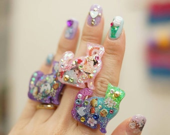 Cat ring, cat jewelry, kawaii, lolita accessory, resin ring, cats, geisha, Japan, Japanese jewelry, glittery, resin jewelry, antique tone