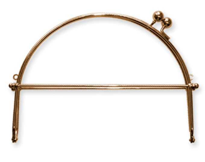 Interchangeable 2 Metal Kiss Lock Bag Purse Handle Frame from Ellen Medlock Studio - Antique Brass Finish, 8 inch wide (#203AB)