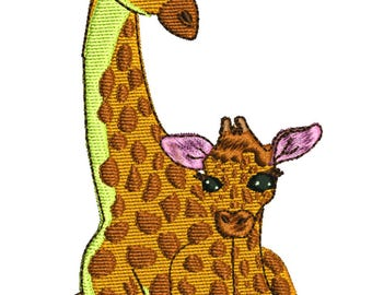 Lucy and baby giraffe machine embroidery design