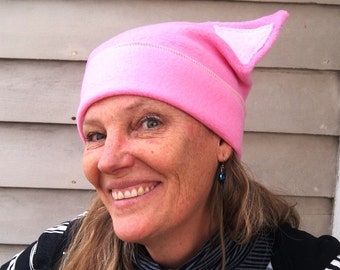 Pink Pussy Cat Fleece Hat with light pink ears - USPS 1st Class, Priority or EXPRESS shipping-- One Size fits ALL
