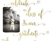 50% Off - Graduation Word Art Quotes Photo Overlays for Scrapbooking - GOLDEN GRADS - (5) Custom Quotes for your Photographs and Quick Pages