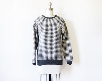 houndstooth sweater, vintage checkered sweater, gray and white lambswool and angora sweater, medium large sweater