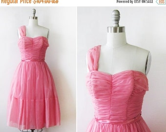 SALE 50s pink dress, 1950s chiffon party dress, vintage pink prom bridesmaid dress,  extra small xs
