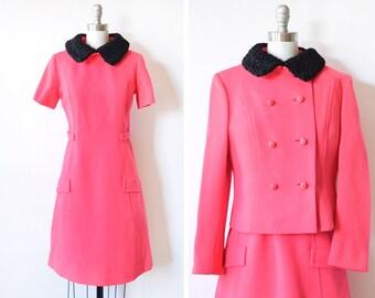 60s mod dress set, vintage 1960s hot pink dress with black persian lamb collar, mod dress with jacket, medium